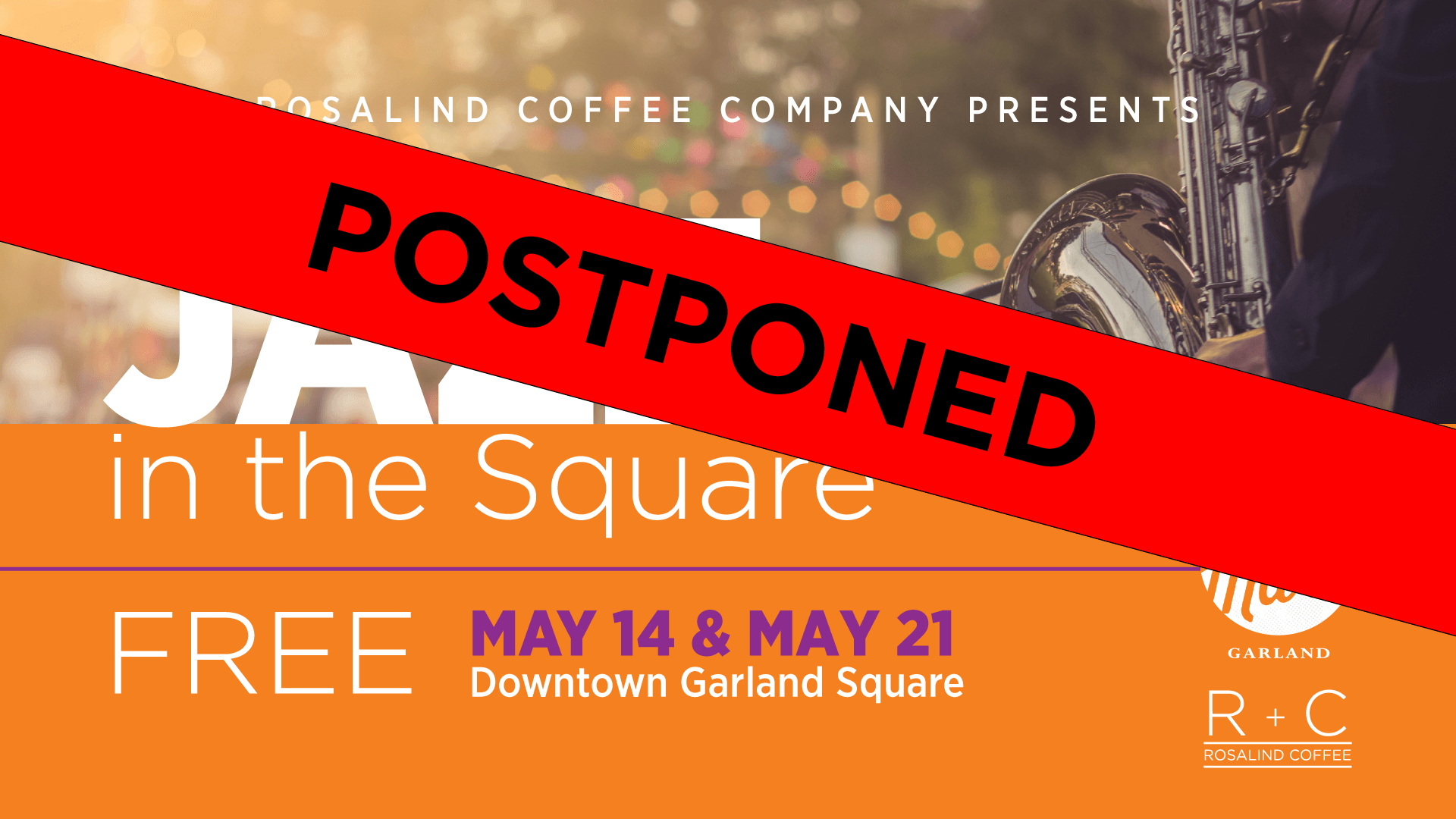 Jazz in the Square event POSTPONED graphic
